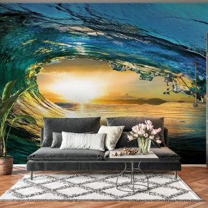 Water Wave In Sunset Wall Mural Photo Wallpaper UV Print Decal Art Décor