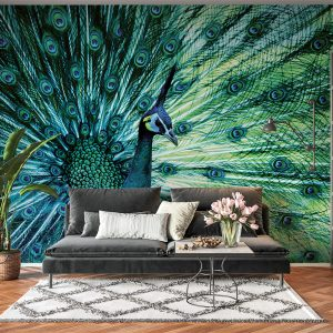 Colourful Peacock Theme Wall Mural Photo Wallpaper UV Print Decal Art Décor