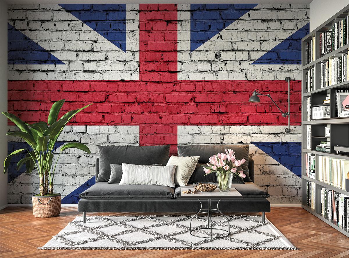 UK Flag Brick Effect Wall Mural Photo Wallpaper UV Print Decal Art Décor