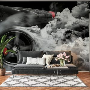 Supersport Car Burning Tyre Wall Mural Photo Wallpaper UV Print Decal Art Décor