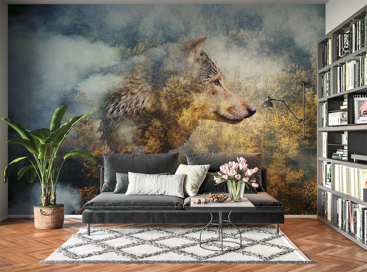 Wolf on Forest Theme Wall Mural Photo Wallpaper UV Print Decal Art Décor
