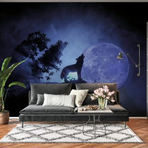 Wolf on Night Moon Theme Wall Mural Photo Wallpaper UV Print Decal Art Décor