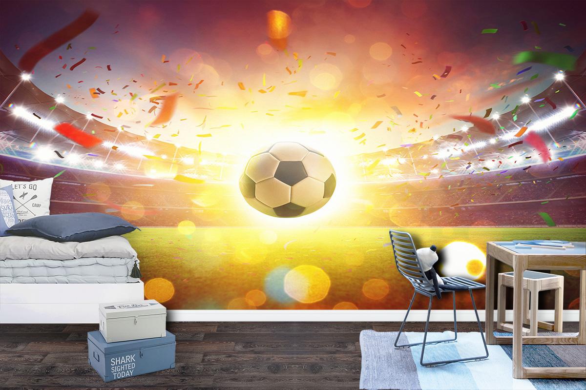 Football Stadium & Shiny Ball Wall Mural Photo Wallpaper UV Decal Art Décor