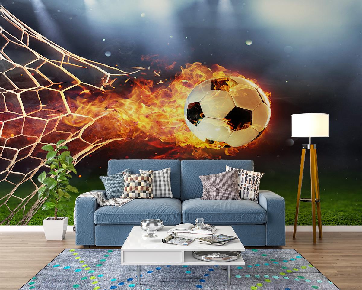 Fire Football Goal Wall Mural Photo Wallpaper UV Print Decal Art Décor