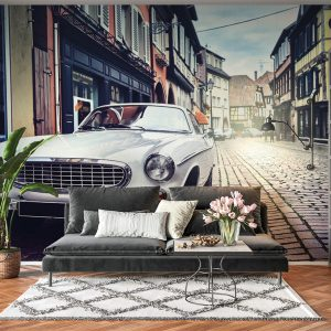 Vintage Car in The City Wall Mural Photo Wallpaper UV Print Decal Art Décor