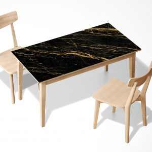 Black and Gold Marble Laminated Self Adhesive Vinyl Table Desk Art Décor Cover