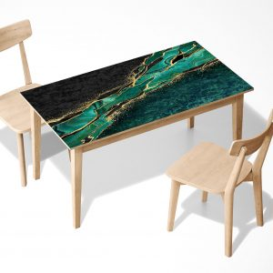 Green Marble Abstract Laminated Self Adhesive Vinyl Table Desk Art Décor Cover