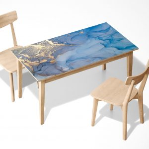 Blue and Gold Marble Laminated Self Adhesive Vinyl Table Desk Art Décor Cover