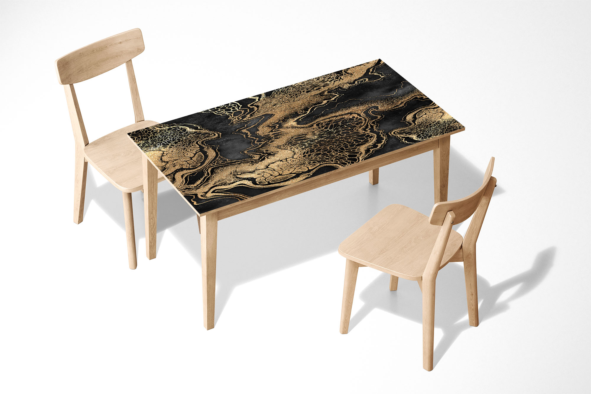 Artistic Gold Marble Laminated Self Adhesive Vinyl Table Desk Art Décor Cover