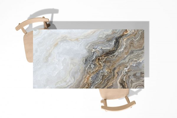 Grey and Gold Marble Laminated Self Adhesive Vinyl Table Desk Art Décor Cover