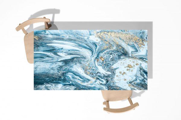 Blue Marble Texture Laminated Self Adhesive Vinyl Table Desk Art Décor Cover