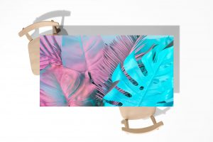 Pink and Blue Monstera Laminated Self Adhesive Vinyl Table Desk Art Décor Cover