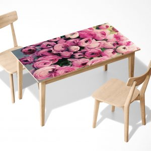Blooming Peonies Flower Laminated Self Adhesive Vinyl Table Desk Art Décor Cover