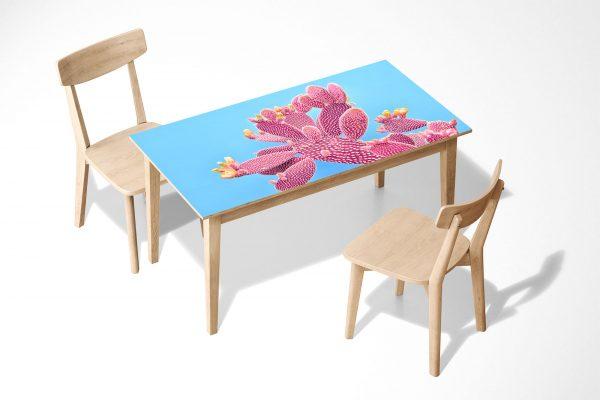 Pink Cactus Blue Scene Laminated Self Adhesive Vinyl Table Desk Art Décor Cover