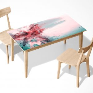 Ink Painting Flower Laminated Self Adhesive Vinyl Table Desk Art Décor Cover