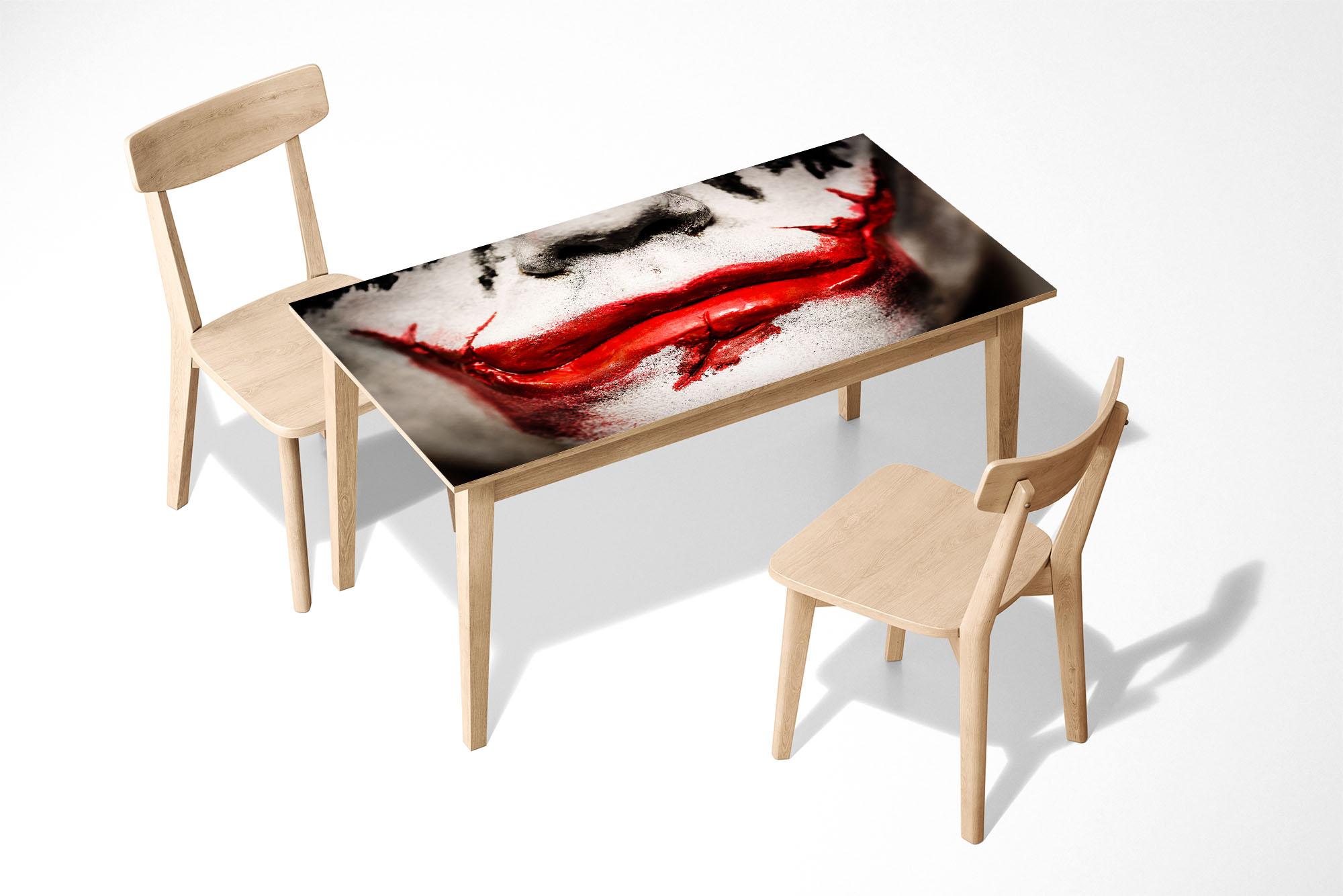 Joker Smile Face Laminated Self Adhesive Vinyl Table Desk Art Décor Cover