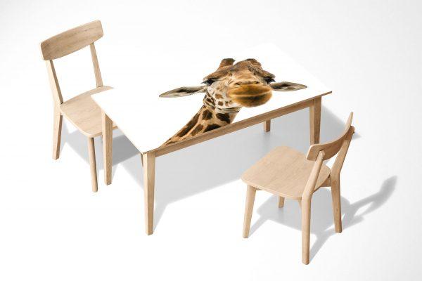 Happy Giraffe Laminated Self Adhesive Vinyl Table Desk Art Décor Cover