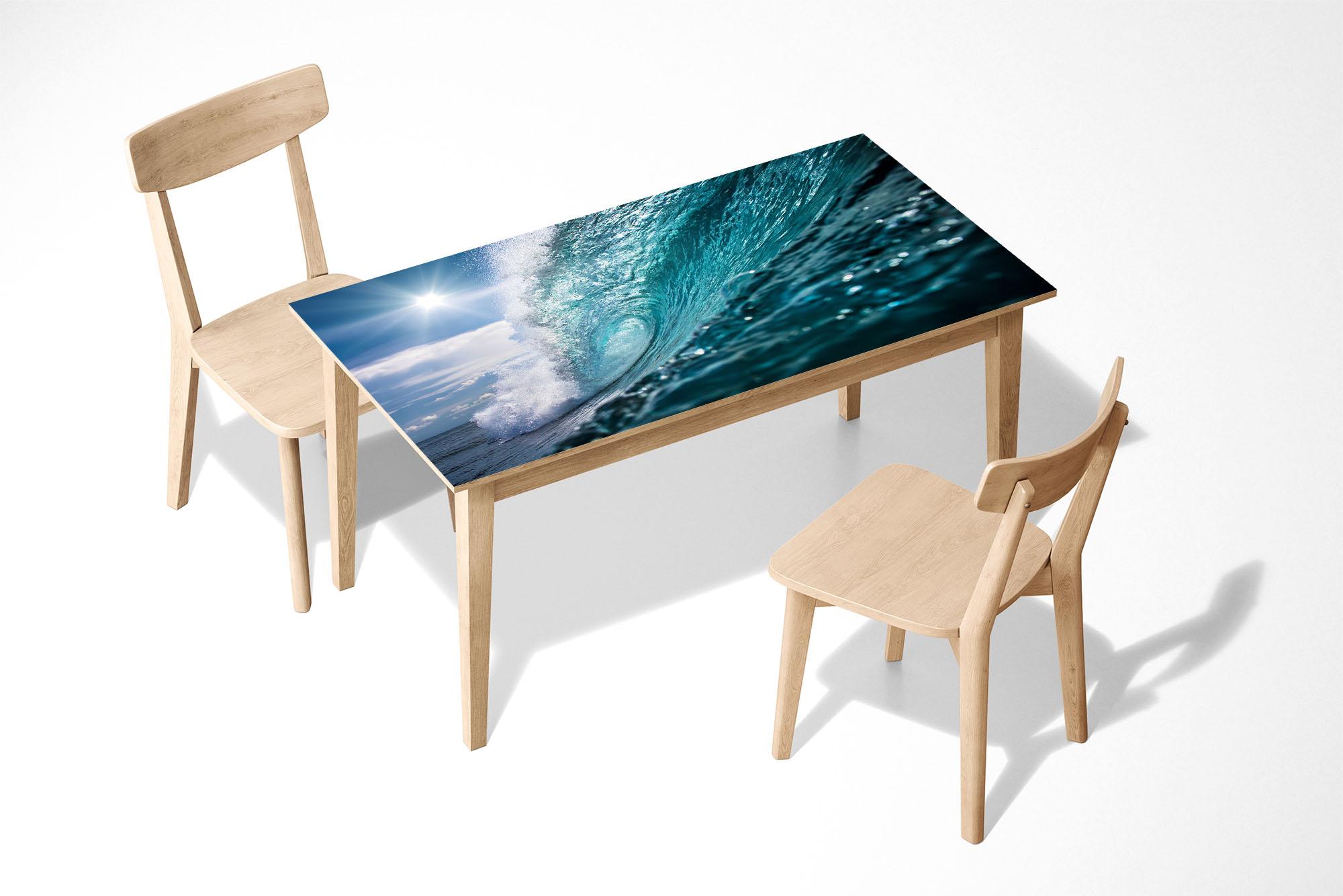 Blue Ocean Wave Laminated Self Adhesive Vinyl Table Desk Art Décor Cover