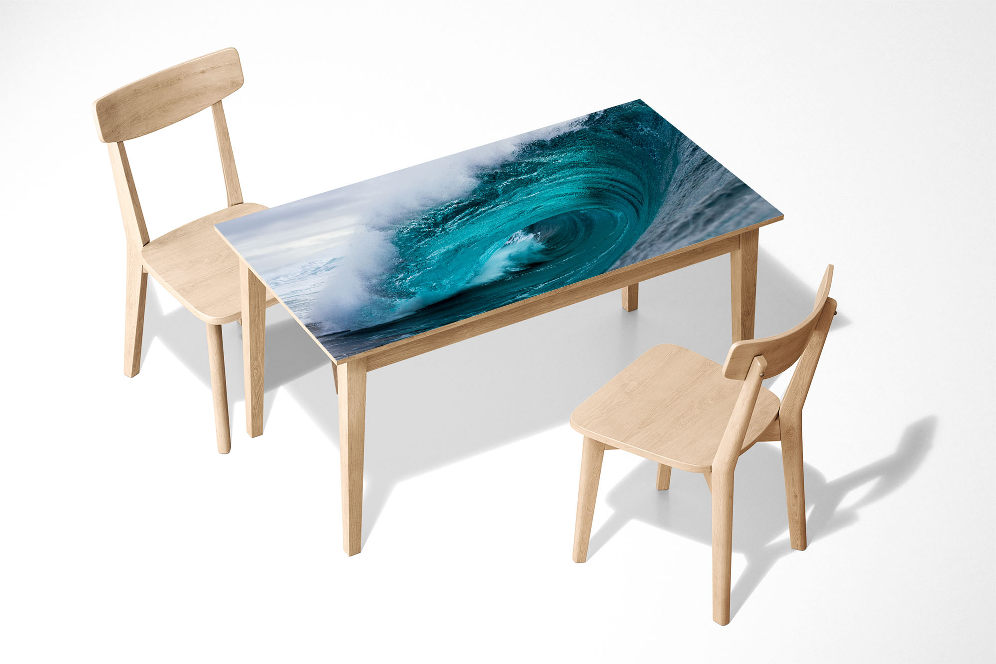Wave of the Ocean Laminated Self Adhesive Vinyl Table Desk Art Décor Cover
