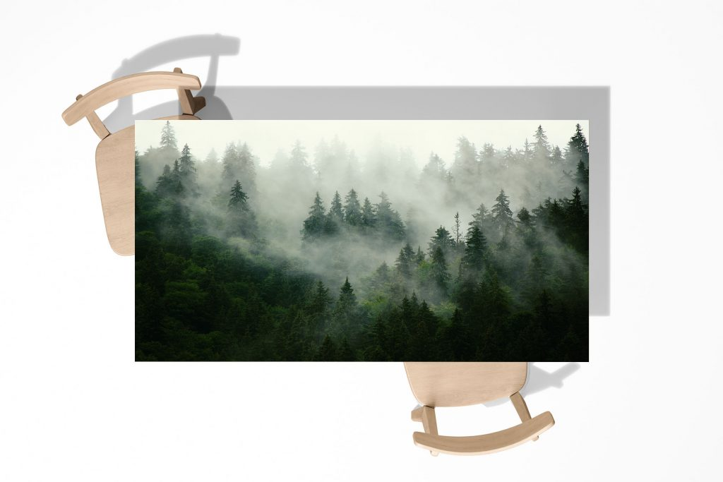 Forest in the Fog Laminated Self Adhesive Vinyl Table Desk Art Décor Cover