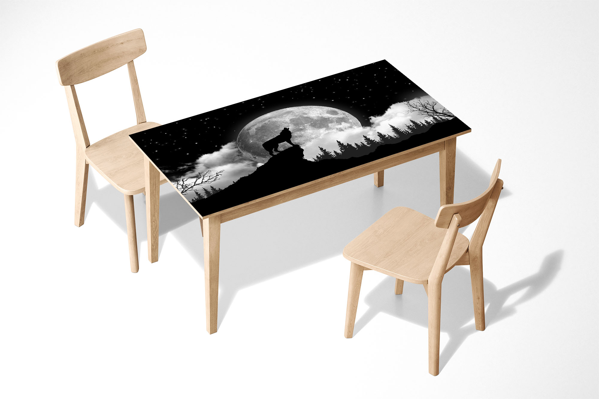 Howling Wolf Laminated Self Adhesive Vinyl Table Desk Art Décor Cover