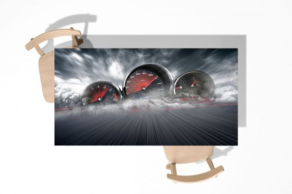 Speedometers in smoke Laminated Self Adhesive Vinyl Table Desk Art Décor Cover