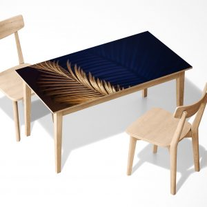 Golden palm Leaf Laminated Self Adhesive Vinyl Table Desk Art Décor Cover