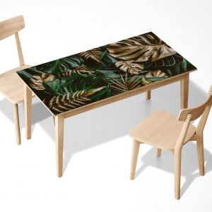 Golden & Green Monstera Laminated Self Adhesive Vinyl Table Desk Art Décor Cover