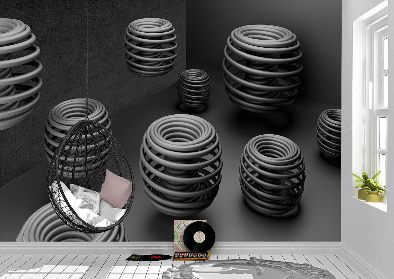 3D Art Black Grey Rings Wall Mural Photo Wallpaper UV Print Decal Art Décor