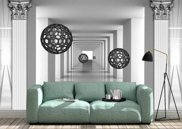 3D Silver Tunnel Wall Mural Photo Wallpaper UV Print Decal Art Design Décor