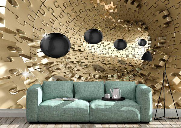 Golden Tunnel Wall Mural