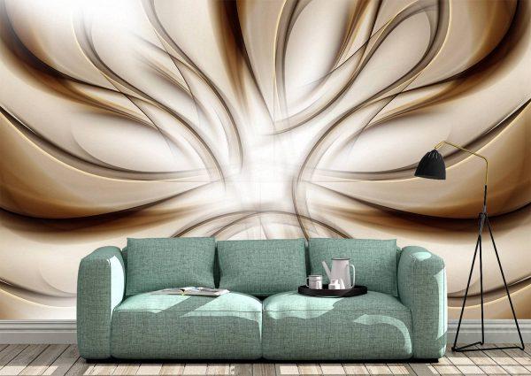 3D Abstract Brown Waves Wall Mural Photo Wallpaper UV Print Decal Art Décor