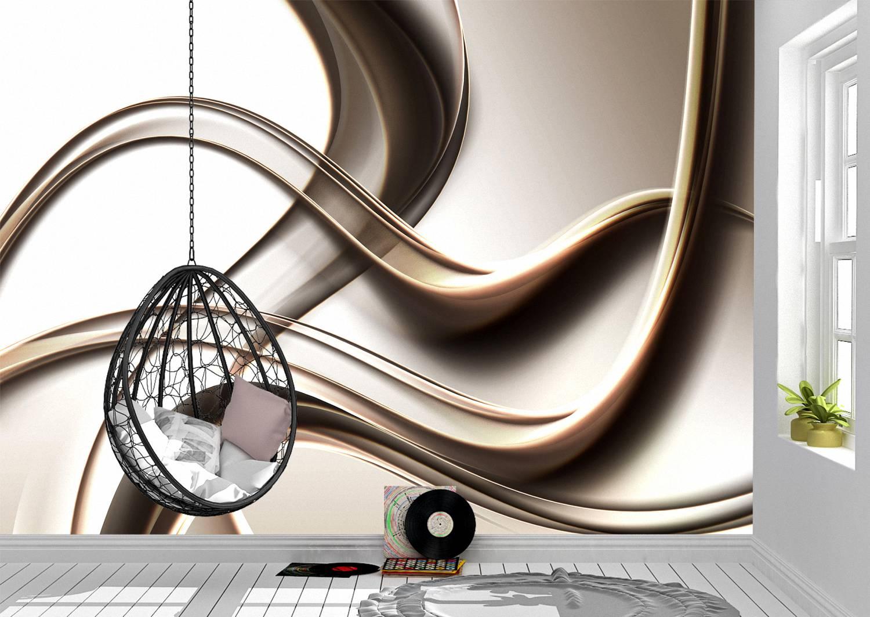 3D Abstract Gold Wave Design Wall Mural Photo Wallpaper UV Print Decal Art Décor