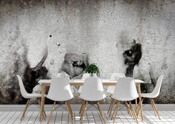 Hand Doodle Painted Concrete Wall Mural Photo Wallpaper UV Print Decal Art Décor