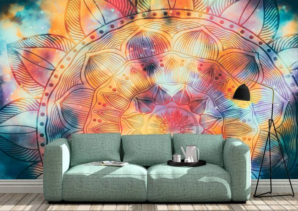 Abstract mandala watercolor Wall Mural Photo Wallpaper UV Print Decal Art Décor