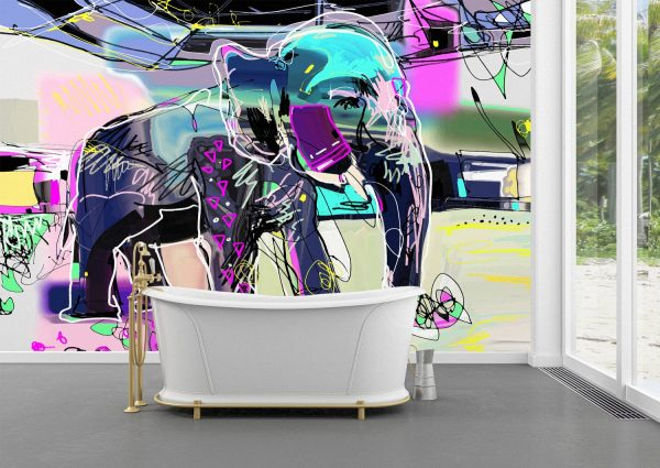 Abstract Indian Elephant Wall Mural Photo Wallpaper UV Print Decal Art Décor