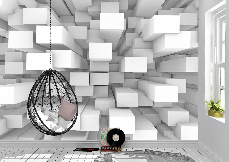 3D Background of 3D blocks Wall Mural Photo Wallpaper UV Print Decal Art Décor