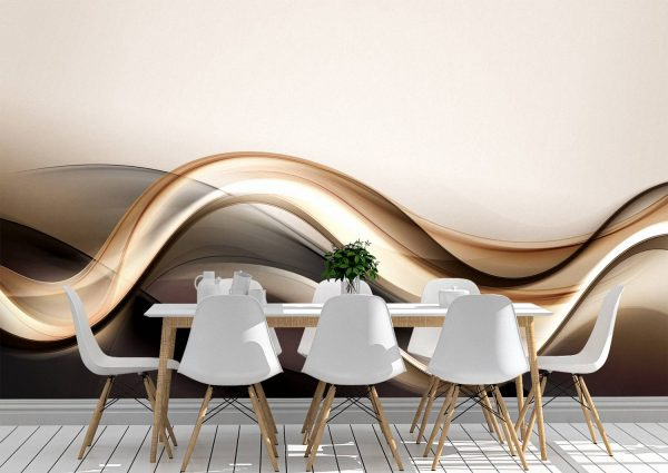 3D Gold Brown Abstract Wave Wall Mural Photo Wallpaper UV Print Decal Art Décor