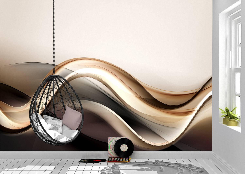3D Gold Brown Abstract Wave Wall Mural Photo Wallpaper UV Print Decal Art Décor