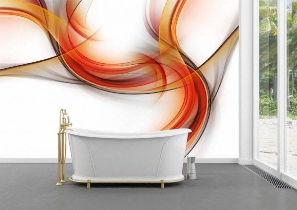 Abstract Orange Waves Design Wall Mural Photo Wallpaper UV Print Decal Art Décor