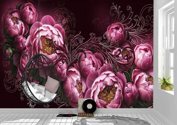 Flowers painted on a dark wall Wall Mural Photo Wallpaper UV Print Decal Art Décor
