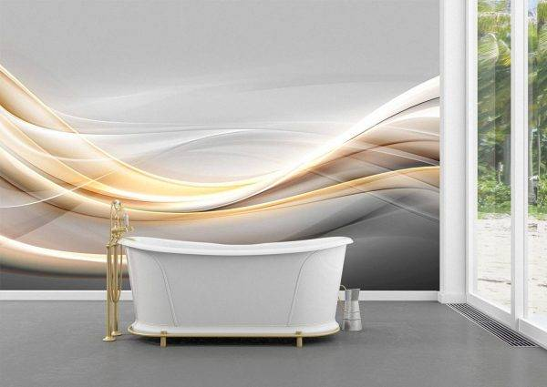 Gold modern bright waves art Wall Mural Photo Wallpaper UV Print Decal Art Décor