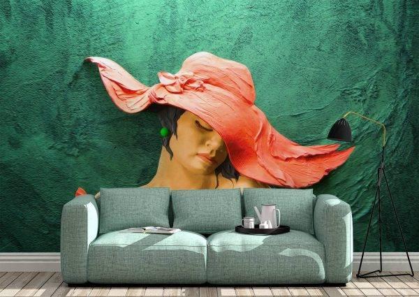 Green& Orange Abstract Woman Wall Mural Photo Wallpaper UV Print Decal Art Décor