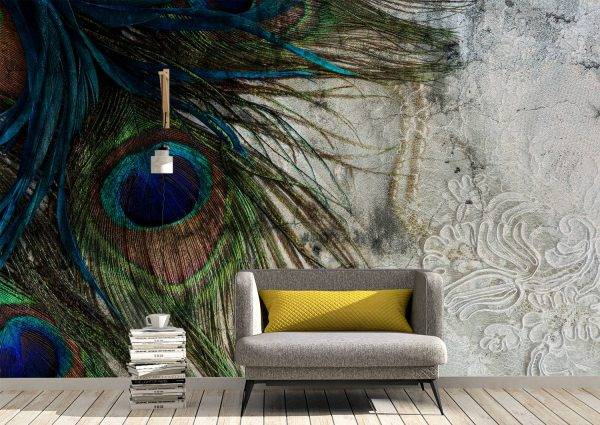 Peacock Feathers on Concrete Wall Mural Photo Wallpaper UV Print Decal Art Décor