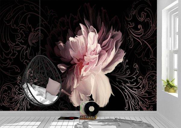 Peony on a dark wall Wall Mural Photo Wallpaper UV Print Decal Art Décor