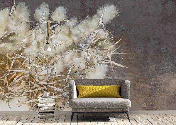 Reed painted on a grunge wall Wall Mural Photo Wallpaper UV Print Decal Art Décor