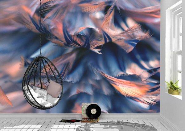 Abstract Colourful Feathers Wall Mural Wallpaper