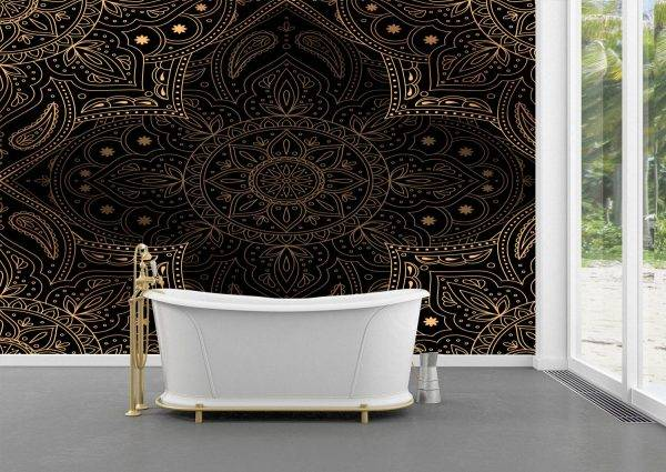Gold and Black Mandala Wall Mural Photo Wallpaper