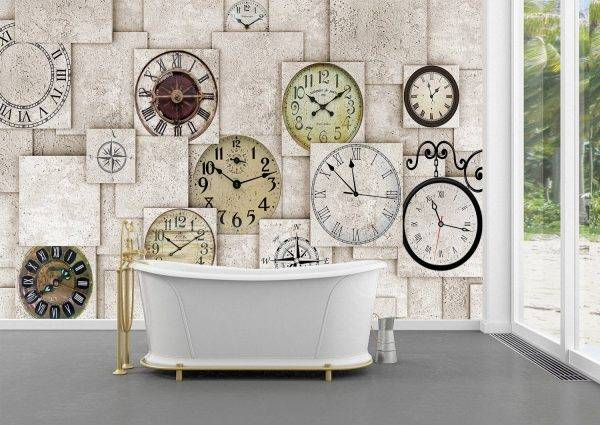 The Wall With Clocks Wall Mural Photo Wallpaper