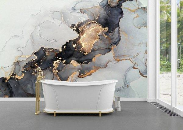 Gray and gold marble effect Wall Mural Photo Wallpaper UV Print Decal Art Décor